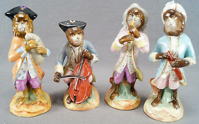 4 Piece 19th Century Hand Painted German / French Porcelain Monkey Band AS IS