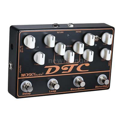 MOSKY DTC Guitar Effect Pedal 4 Effects Delay Distortion Loop Overdrive US Stock