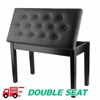 Double Seat Chair PU Leather Padded Piano Keyboard Stool Multifuction Holder BG