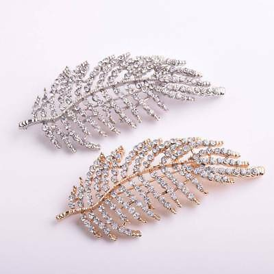 Hollow Leaf Brooches Rhinestone Inset Scarf Pin Brooch Women Jewelry Gift Party