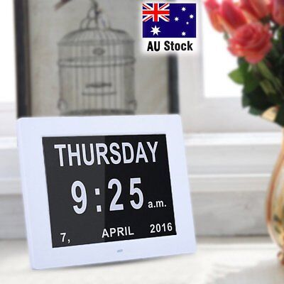 8'' LED Dementia Digital Calendar Day Clock Extra Large Day/Week/Month/Year AU