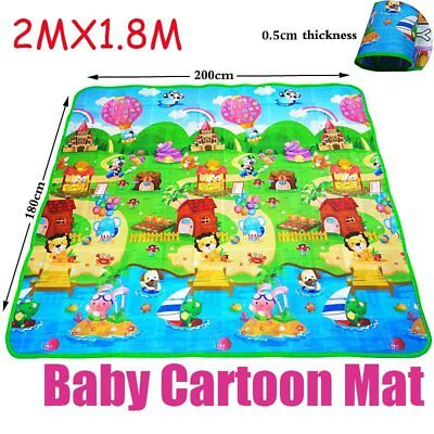 2mx1.8m XXL Nontoxic Baby Kids Play Mat Floor Rug Picnic Cushion Crawling Mat LL