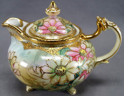 Nippon Hand Painted Pink & White Floral Green & Gilt Moriage Syrup Pitcher