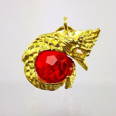 Great Nagas King Snake Serpent Red Glass Ball Keychain Pendant Necklace Copper