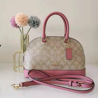 f411e9eb95951 NEW COACH SIGNATURE PVC MINI SIERRA SATCHEL Light Khaki Vintage Pink F27583   295