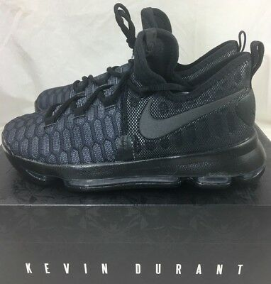 5b0ded00780 Nike Zoom KD9 GS Youth Basketball Shoe Triple Black Anthracite 855908-001