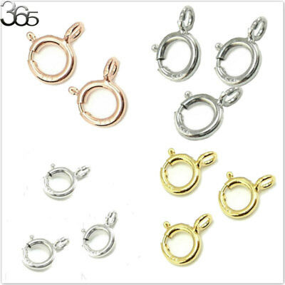5pcs 100% Real  S925 Sterling Silver Rose Gold Findings Spring Ring Clasp 5mm
