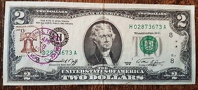 1976 2 Dollar Federal Reserve Note With First Day Of Issue Cancelled Stamp