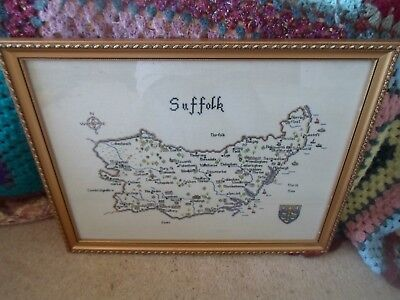 """Cross Stitch Map of Suffolk in Good Gilt Coloured Frame & Behind Glass 19"""" x 15"""""""