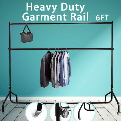 6FT Clothes Rail Garment Display Hanging Rolling Coat Dryer Stand Double Rail