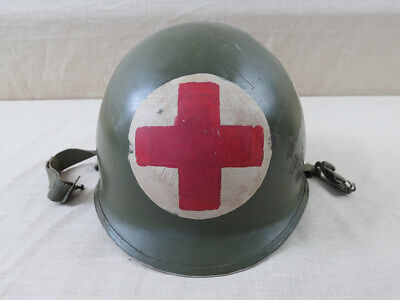 #305 US Army WW2 Helm Sanitäter M1 Stahlhelm helmet MEDIC RED CROSS NCO 4183