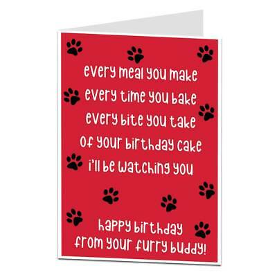 Funny Happy Birthday Card From The Dog Pet Theme For Mum Dad Husband