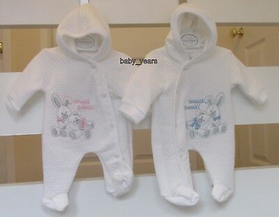 Premature Baby Clothes Boys Girls Pramsuit Hooded All In One Prem Tiny Coat New