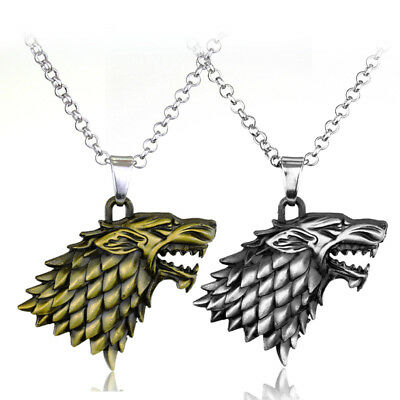 Game of Thrones Targaryen Stark Dragon Dire Wolf Pendant Charms Necklace Jewelry