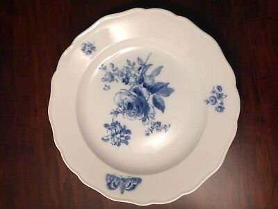 Meissen China BLUE FLOWER & INSECT / BUTTERFLY Dinner Plate EXCELLENT