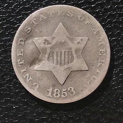 1853 Three Cent Piece Silver Trime 3c circulated mid grade #6896