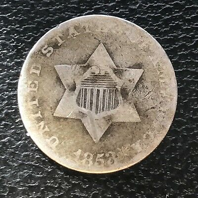 1853 Three Cent Piece Silver Trime 3c circulated mid grade #6893