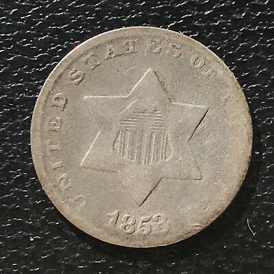 1853 Three Cent Piece Silver Trime 3c circulated mid grade #6894