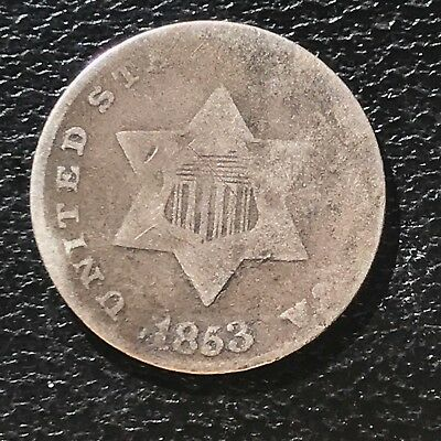 1853 Three Cent Piece Silver Trime 3c circulated mid grade #6895