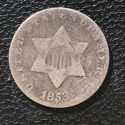 1853 Three Cent Piece Silver Trime 3c circulated mid grade #6898