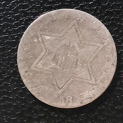 1858 Three Cent Piece Silver Trime 3c circulated mid grade #6922