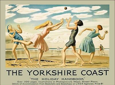 Yorkshire Coast Holiday Handbook Great Britain England Vintage Travel Poster