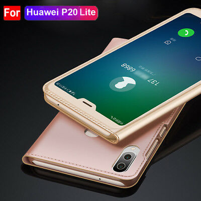 Flip PU Leather Wallet Clear View  Case for Huawei P20 Lite/P Smart Cover Shell