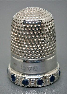 Sterling Silver & Blue Enamel Thimble by Charles Horner Chester 1913