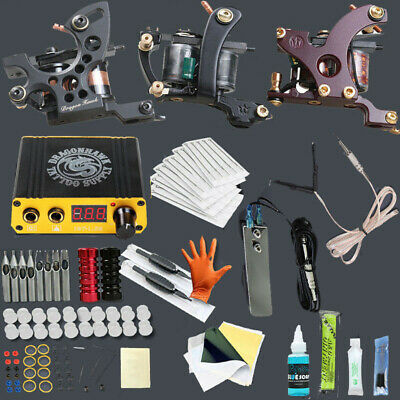 Professional Complete Tattoo Kits Sets 2 Tattoo Machine Power 2 guns Color Inks