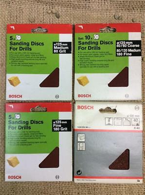 """CLEARANCE LOT BOSCH SANDING DISCS FOR DRILLS 125 mm 5"""" PAPER FOR BACKING PADS"""