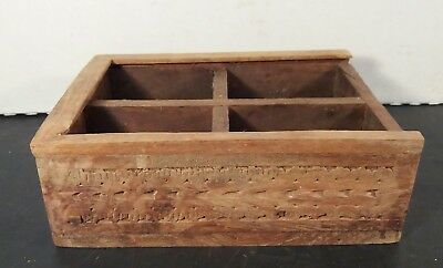 Small PRIMITIVE Wooden Box Four Compartment WALL CRATE Handmade VINTAGE DECOR