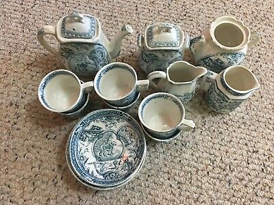 RARE Antique Staffordshire Allerton Teal May Mae with Dog Childs Tea Set 19  pc