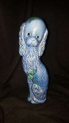 Vintage Royal Sealy Blue Floppy Eared Dog Tall Skinny Ceramic 11.5 Tall USED