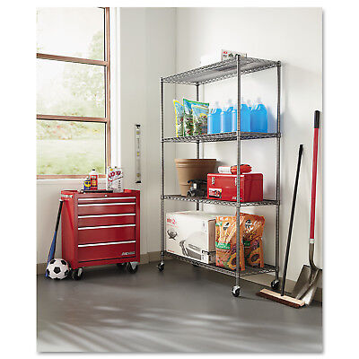 """Alera Complete Wire Shelving Unit with Casters, Four-Shelf, 48"""" x 18"""" x 72"""","