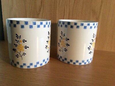 Laura Ashley pair of ceramic plant pot holders cream blue check yellow flowers