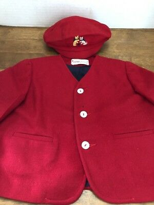 Vintage 2T Boy's Red Wool Jacket By Imp Originals With Cap