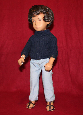 "16"" Vintage 301 Sasha Doll Gregor,Navy Blue Top,Jeans,Tag And Box,Made In Englan"