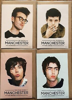4Ltd Edition Musicians Of Manchester Cards Oasis Smiths Stone Roses Joy Division