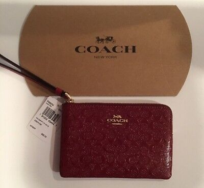 Authentic Coach Debossed Patent Leather Red Corner Zip Wristlet F58034 + Box