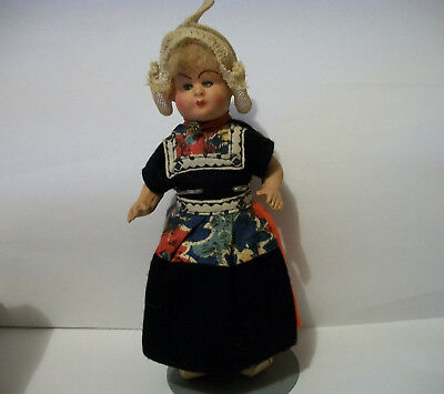 "Vintage 1930's AM Dutch Holland Bisque Head Doll 8"" Beautiful"