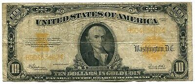 1922 $10 Gold Certificate, Very Good VG