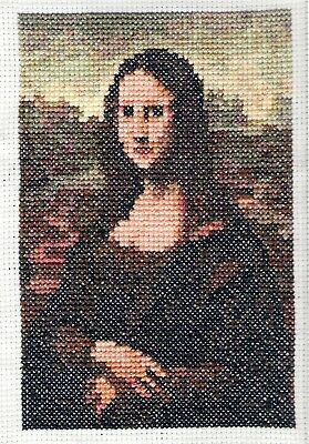 Handmade Completed Cross Stitch Picture of Mona Lisa (Unframed)