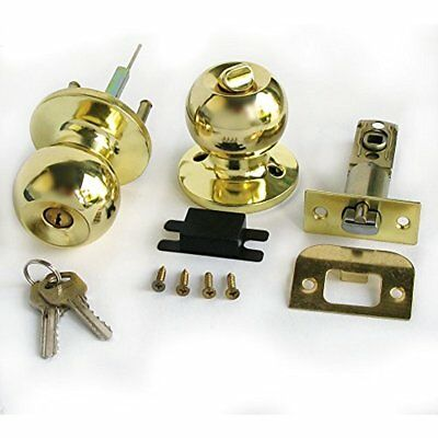 Duratron Stainless Gold Color Keyed Entry Rotation Round Door Knobs Handle Lock