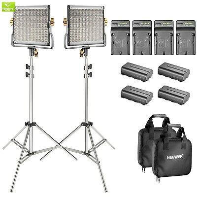 Neewer 2-Pack Bi-color Dimmable 480 LED Video Light and Stand Lighting Kit with