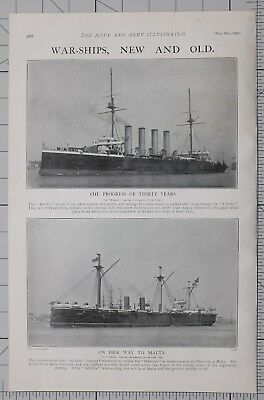 1901 Print War Ships Aboukir Leaving Portsmouth ~ Achilles
