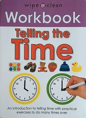 Telling the Time Wipe Clean Workbook Activity Book Pre School Kids with Pen