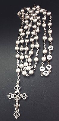 PERSONALISED Any Name Silver Glass Rosary beads New baby, Christening, Baptism