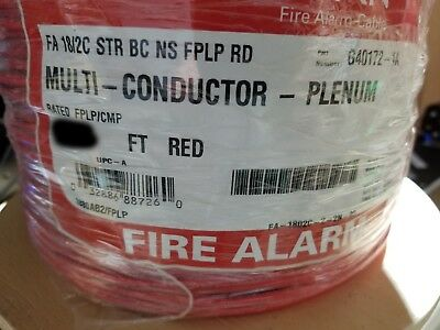 Southwire/Tappan 18/2C Stranded UnShield Fire Alarm Cable FPLP/Plenum Red /100ft