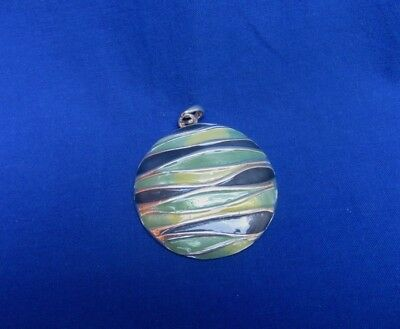 Vtg Blue Green Yellow BOHO Enamel Round Disk Hippie Medallion Pendant Necklace