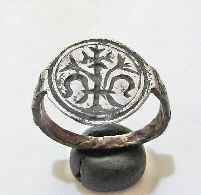 ANCIENT BYZANTINE BRONZE ,Cross ring.Full silvered.